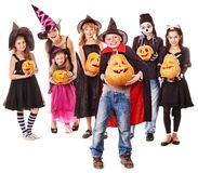 Halloween party with group kid holding  pumpkin. Royalty Free Stock Photo