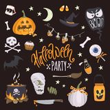 Halloween party. Vector set of halloween elements. Cheerful lettering and traditional halloween attributes: pumpkin with a treat, witch hat, cauldron, skull vector illustration