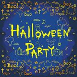 Halloween hand drawn cartoon background Royalty Free Stock Images