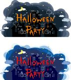 Halloween party, hand drawn cartoon sets Royalty Free Stock Images
