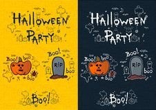 Halloween party, hand drawn cartoon sets Stock Photo