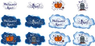 Halloween party, hand drawn cartoon sets,  illustration Royalty Free Stock Image