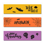 Halloween party hand drawn lettering phrases and sketches banners. Fun brush ink typography greeting card, illustration Stock Photos