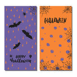 Halloween party hand drawn lettering phrases and sketches banners. Fun brush ink typography greeting card, illustration Stock Photo