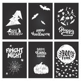 Halloween party hand drawn lettering phrases and sketches banners. Fun brush ink typography greeting card, illustration Royalty Free Stock Images
