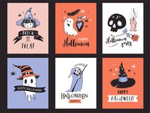 Halloween party, hand drawn modern cards set Royalty Free Stock Images