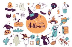 Halloween party, hand drawn modern cards set Royalty Free Stock Photo