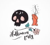 Halloween party, hand drawn modern cards set Royalty Free Stock Photos