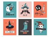 Halloween party, hand drawn modern cards set Stock Photos