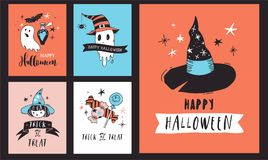 Halloween party, hand drawn modern cards set Stock Images