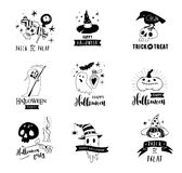 Halloween party, hand drawn modern cards set Stock Photography