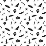 Halloween party hand drawn seamless pattern background. Fun brush ink illustration for paper, textile, flyer, greeting. Card, poster design Stock Photo