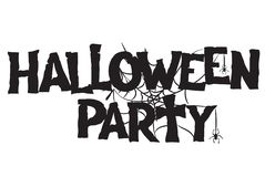 Halloween Party handwritten text and spiderweb hand drawn royalty free stock images
