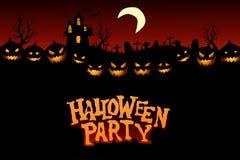 Halloween-Party-Hintergrund mit Kürbisen Stockfotografie