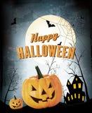 Halloween-Party-Hintergrund mit Kürbisen Stockbilder