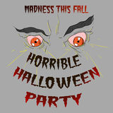 Halloween party. Horrible halloween party poster with monsters eyes Stock Images