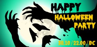 Halloween party horror hands poster design. Vector illustration. Royalty Free Stock Image