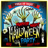 Halloween party horror night poster design template. Vector illustration. Art Royalty Free Stock Images