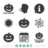 Halloween party icons. Pumpkin symbol. Halloween pumpkin icons. Halloween party sign symbol. All Hallows Day celebration. Information, go to web and calendar stock illustration