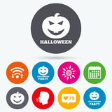 Halloween party icons. Pumpkin symbol. Royalty Free Stock Images