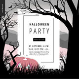 Halloween Party illustarted notice poster. Halloween Party notice illustrated poster. Vector cartoon illustration of a forest landscape with a pumpkin and flying Royalty Free Stock Photo