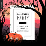 Halloween Party illustarted notice poster. Halloween Party notice illustrated poster. Vector cartoon illustration of a forest landscape with a pumpkin and flying Royalty Free Stock Photography