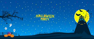 Halloween vector illustration. Halloween party illustration. Bats flying over a horrible hill in the night with a full moon on dark blue background Royalty Free Stock Photography