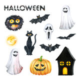 Halloween Party Illustration. Monster, Horror Mask, Black Cat, Bat, Pumpkin, Ghost, Orange Moon, Black House. Watercolor drawing Royalty Free Stock Photo