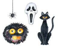 Halloween Party Illustration. Monster, Horror Mask, Black Cat, Spider. Watercolor drawing vector illustration