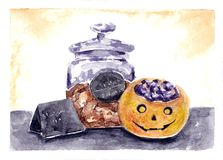 Halloween Party illustration. Watercolor drawing. Hand drawn holiday artwork: decorative pumpkin and cookies jar. Autumn painting. Artistic decoration vector illustration