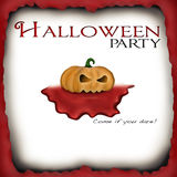 Halloween party invitation. Announcement card with a bloody pumpkin Royalty Free Stock Photos