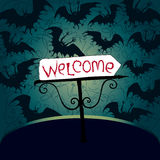 Halloween party invitation. With arrow and the bats Royalty Free Stock Photography