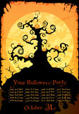 Halloween party invitation or background. With black tree and pumpkins Stock Photo