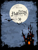 Halloween party invitation or background. Grungy Halloween background with haunted house, bats and full moon Royalty Free Stock Photo