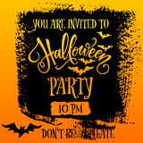 Halloween Party invitation banner. Design. You are invited text vector illustration