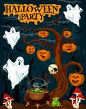Halloween party invitation banner with fear ghost. Halloween party invitation banner with horror ghost. Creepy night forest with spooky tree, pumpkin lantern and royalty free illustration