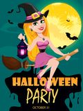 Halloween party invitation. Beautiful lady witch flying on broom and holding lamp. Royalty Free Stock Photo