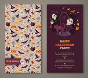 Halloween party invitation with black cat, grave and pattern Stock Photos