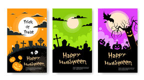 Halloween Party Invitation Card Poster Set. Flat Vector Illustration Royalty Free Stock Images