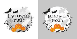 Halloween party invitation card. Vector illustration Royalty Free Illustration