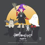 Halloween party invitation with children and pets in Halloween costumes. royalty free illustration