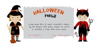 Halloween party invitation with cute kids Royalty Free Stock Photo