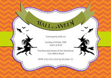 Halloween Party invitation. dark orange chevron background with witch and bats.