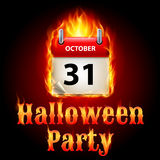 Halloween party. Invitation design with flaming calendar on 31th of October Royalty Free Stock Images