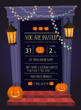 Halloween party invitation with doorway Stock Images