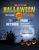 Halloween party invitation with Dracula castle. Scary pumpkins, and various silhouettes of flying bats Stock Images