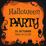 Halloween party invitation, flyer, banner, orange vector greeting card Stock Photography