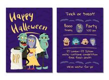 Halloween party invitation with funny zombies Stock Photo