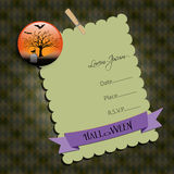 Halloween Party invitation.with  graveyard. Raster illustration. Stock Photo