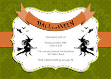Halloween Party invitation. green polka dot background with witch and bats. Stock Photo